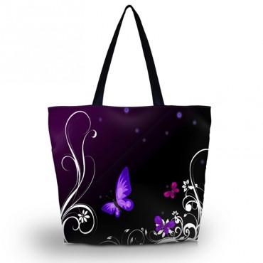 Nákupní a plážová taška - Fialový motýlek