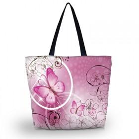 Huado nákupná a plážová taška - Ružový motýľ