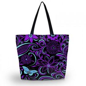 Huado nákupná a plážová taška - Fialové kvety
