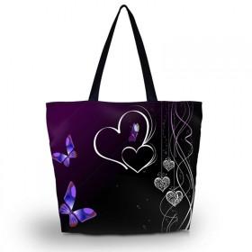 Huado nákupná a plážová taška - Dvojité srdce