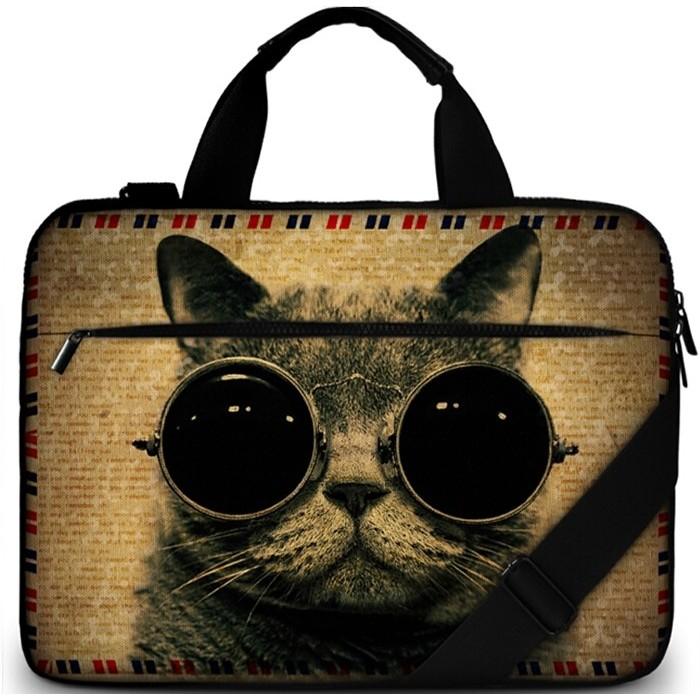 """Brašna přes rameno Huado do 15.6"""" Kočka s brýlemi"""