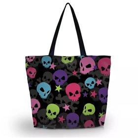 Huado nákupná a plážová taška - Happy Skulls